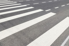 Zebra Crossing with Empty Traffic. Nobody on Crosswalk in Black and White Royalty Free Stock Photos