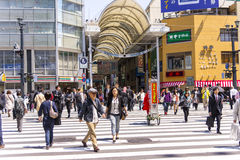 Zebra crossing in Hiroshima. Zebra crossing in the commercial center of Hiroshima Royalty Free Stock Photos