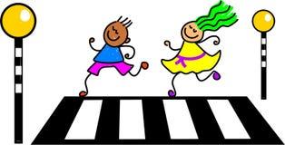 Zebra crossing kids. Kids crossing the road at a zebra crossing - toddler art series Royalty Free Stock Photo