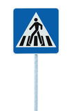 Zebra crossing, pedestrian cross warning street traffic sign in blue and pole post, isolated Stock Photo
