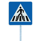 Zebra crossing, pedestrian cross warning traffic road sign in blue and pole post, isolated closeup Stock Photo