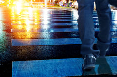 Zebra crossing and pedestrians on the road Royalty Free Stock Photos