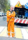 Zebra crossing renovation marking works Royalty Free Stock Images