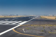 Zebra crossing on the runway of an airport, Benito Stock Images