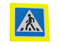 Zebra crossing sign. On white background stock photography