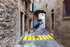 Comic scene. Concept, crosswalks in the alley stock photography