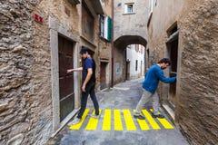 Comic scene. Concept, crosswalks in the alley royalty free stock photo