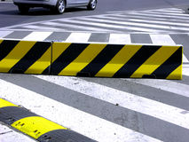 Zebra crossing and speed-bump on the street. In prague city Royalty Free Stock Images