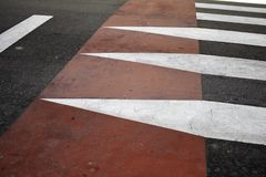 Zebra crossing street. Traffic signs and symbols royalty free stock photography
