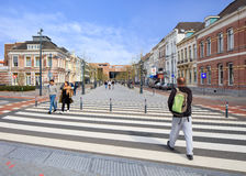 Zebra crossing to the new railway station, Breda, Netherlands Stock Photography