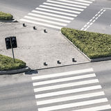 Zebra crossing by top view Royalty Free Stock Photography
