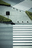 Zebra crossing by top view Royalty Free Stock Images