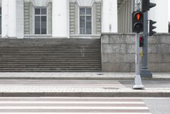 Zebra crossing with a traffic-light Royalty Free Stock Photo