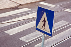 Zebra crossing. And traffic sign, street in Lisbon,Portugal Stock Photo