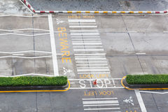Zebra crossing, on urban asphalt road for passenger or people an Royalty Free Stock Photos