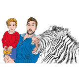 Zebra with dad and baby amazed Color illustration humorist and realist Royalty Free Stock Images