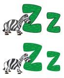 Zebra della lettera Z Fotografie Stock