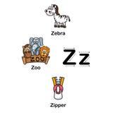 Zebra des Alphabet-Buchstaben Z, Zoo, Reißverschlussvektorillustration Lizenzfreie Stockfotografie