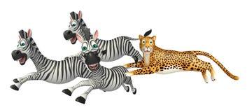 Zebra di caccia del leopardo Immagine Stock