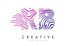 A zebra do RB R B alinha a letra Logo Design com cores magentas Fotografia de Stock