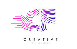 A zebra dos CF C F alinha a letra Logo Design com cores magentas ilustração royalty free