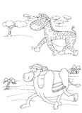 Zebra and dromedary chine coloring humorous children Stock Images