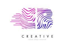 Zebra EB E B zeichnet Buchstaben Logo Design mit magentaroten Farben Lizenzfreies Stockfoto