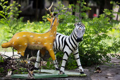 Zebra en herten Stock Fotografie