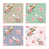 Zebra finches seamless pattern Royalty Free Stock Image