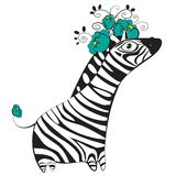 Zebra with flowers. Monochrome zebra character with turquoise flowers on her head Stock Images