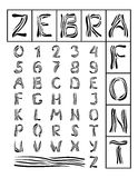 Zebra Font. The font in which letters of the zebra stripes Stock Photos