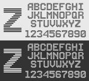 Zebra font with horizontal stripes, line alphabet. Zebra font with horizontal stripes, retro style line alphabet stock illustration