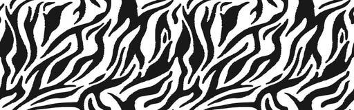 Zebra fur - stripe skin, animal pattern. Repeating texture. Black and white seamless background. Vector vector illustration