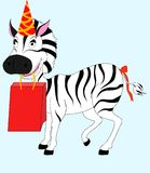 Zebra with gift Stock Image