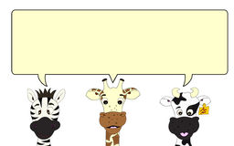 Zebra, giraffe and cow with speech bubble Stock Image