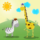 Zebra and giraffe vector illustration Royalty Free Stock Image