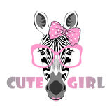 Zebra girl in pink glasses Royalty Free Stock Photo