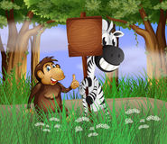 A zebra and a gorilla beside the empty wooden signboard Royalty Free Stock Photos