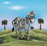 Zebra on grassland in Africa. Childish Illustration for greeting card, holiday card, birthday invitation, art, print, fashion, textile, web design and more royalty free illustration