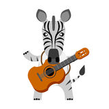 Zebra with guitar Royalty Free Stock Photography