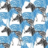 Zebra hand drawn pattern. Black and blue object isolated on white. Doodle art Stock Photography