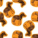 Zebra hand drawn pattern. Orange object  on white. Doodle art Royalty Free Stock Photos