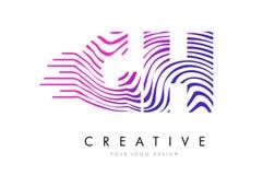 Zebra Handhabung am Boden G H zeichnet Buchstaben Logo Design mit magentaroten Farben lizenzfreie abbildung