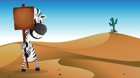 A zebra holding the empty signboard at the desert Royalty Free Stock Image