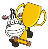 Zebra holding a gold cup Royalty Free Stock Image