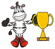 Zebra holding a golg cup Royalty Free Stock Image