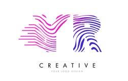 Zebra Jahres Y R zeichnet Buchstaben Logo Design mit magentaroten Farben Lizenzfreie Stockfotografie