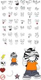 Zebra kid cartoon expression set Stock Photography