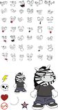 Zebra kid cartoon expression set2 Stock Photo