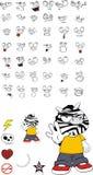 Zebra kid cartoon expression set3 Royalty Free Stock Photography
